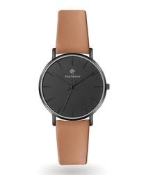 Matte black & camel brown leather watch