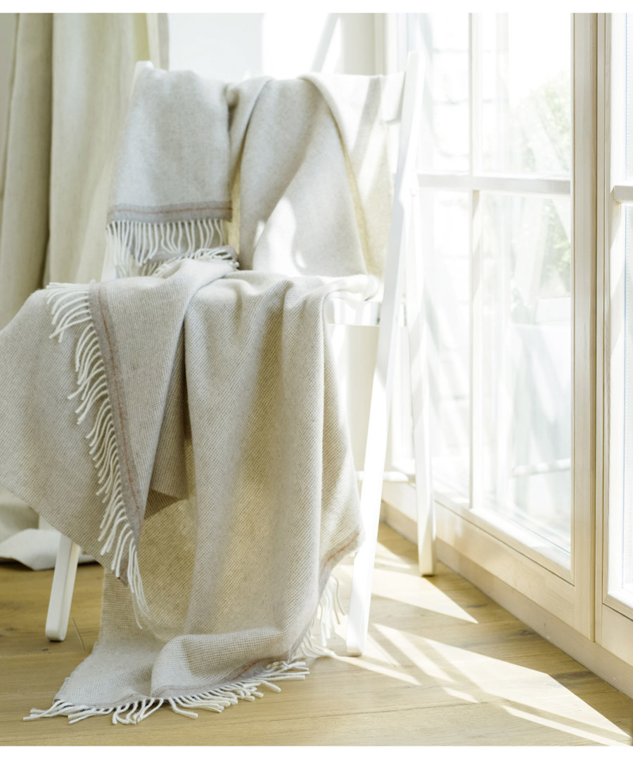 Everest beige cashmere & wool throw Sale - Wool Me