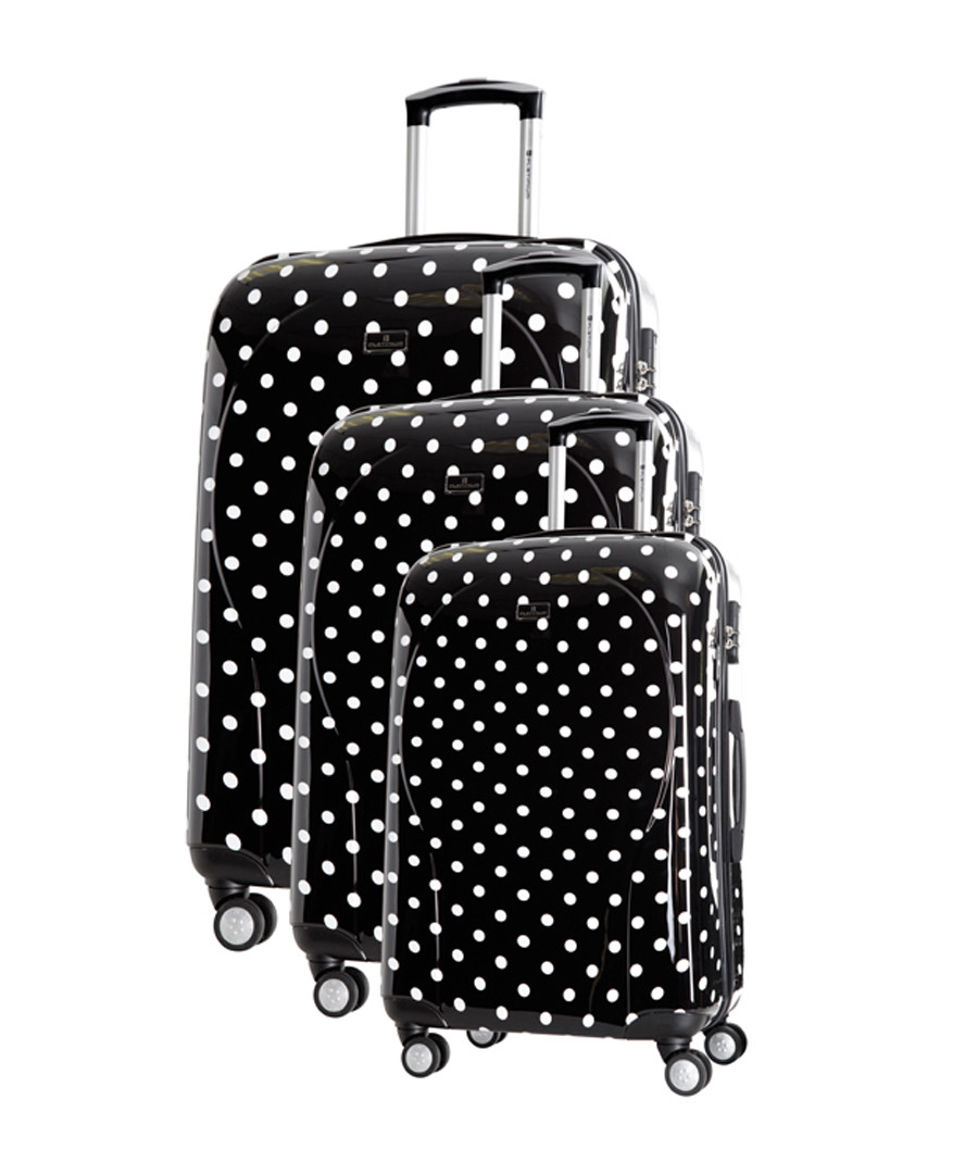 3pc Black spotted spinner suitcase nest Sale - platinium