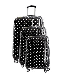 3pc Black spotted spinner suitcase nest