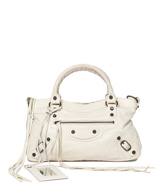 bf3267e13a0 First white leather grab bag Sale - Vintage Balenciaga Sale