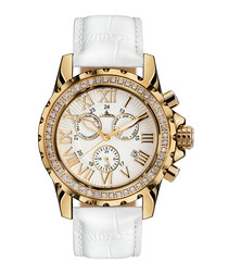 Romantica steel & white leather watch