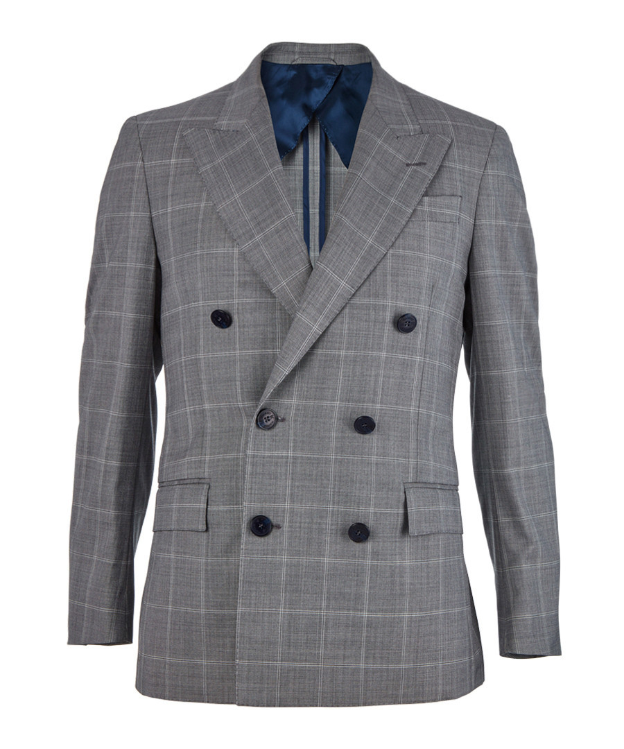 2pc grey pure wool check suit Sale - hackett