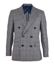 2pc grey pure wool check suit