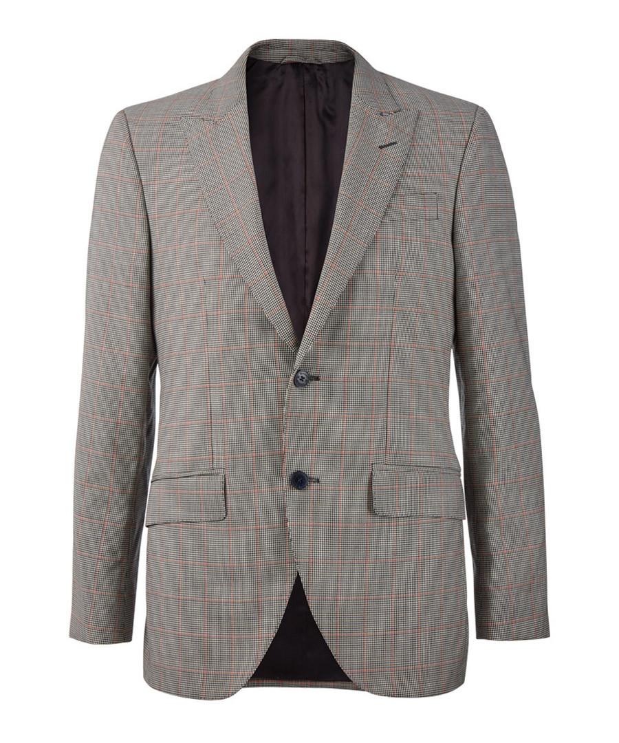 Grey & coral pure wool check blazer Sale - hackett
