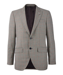 Grey & coral pure wool check blazer