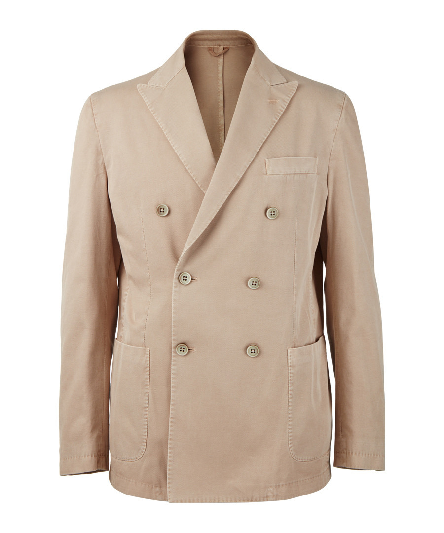 Khaki pure cotton double-breasted jacket Sale - hackett