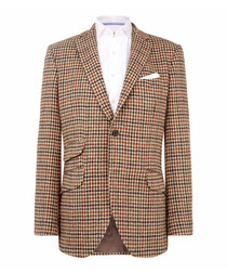 Country brown pure wool check blazer