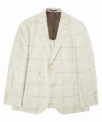 Beige pure linen large check blazer