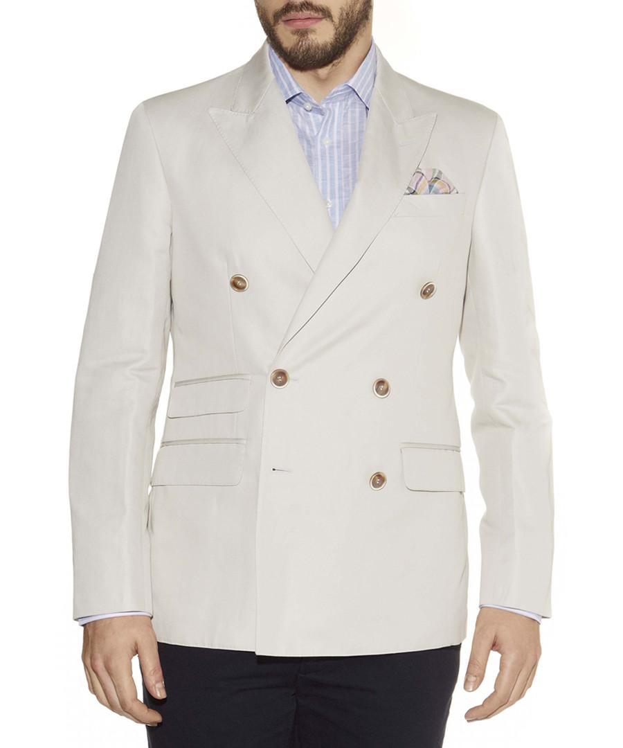 Grey linen blend double-breasted jacket Sale - hackett