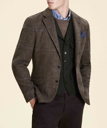 Brown pure wool check blazer