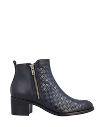 Navy leather weave-effect ankle boots