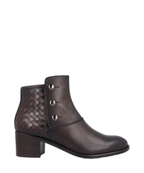 Brown leather stud & weave detail boots