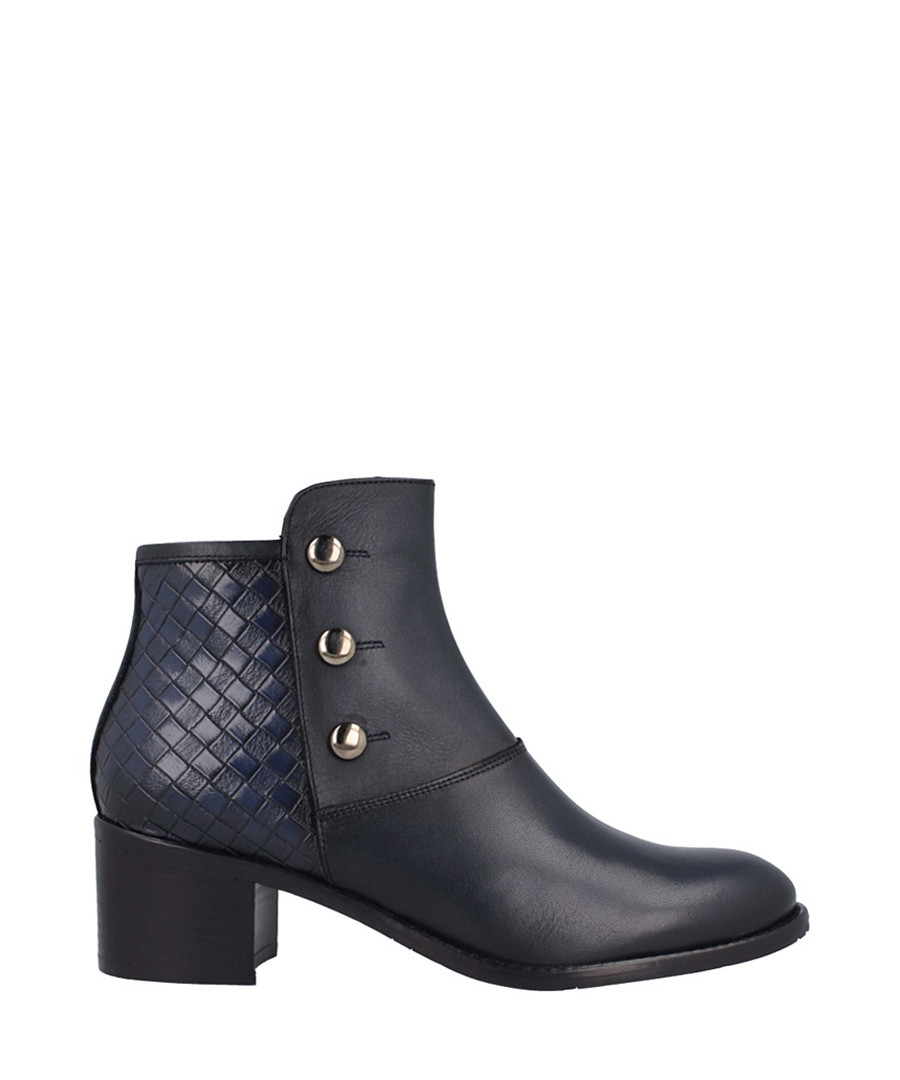 Navy leather stud & weave detail boots Sale - roberto botella