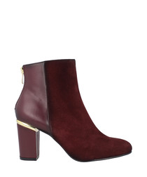 Red leather dual-textured ankle boots