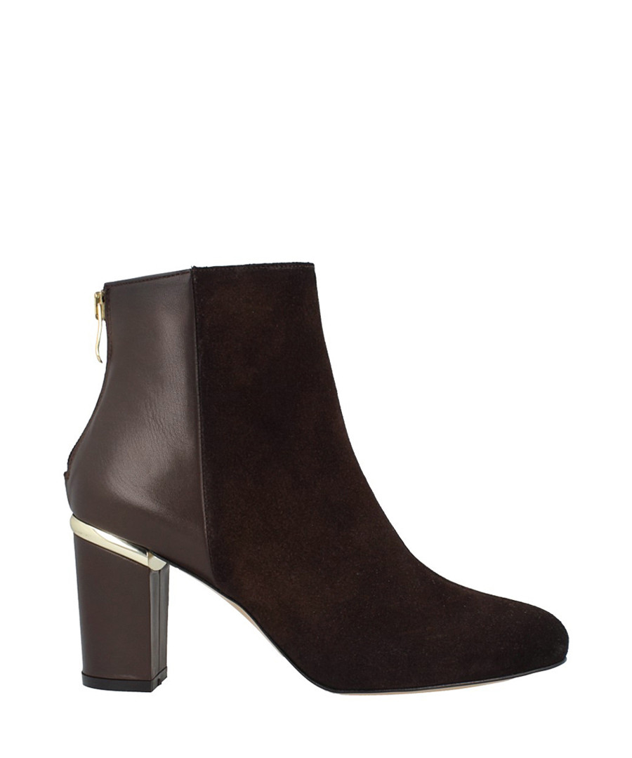 Brown leather dual-textured ankle boots Sale - roberto botella