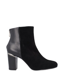 Black leather dual-textured ankle boots