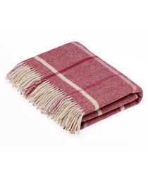 Windowpane berry Shetland wool throw