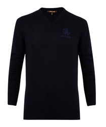 Navy pure wool branded jumper