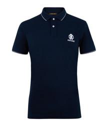 Navy pure cotton logo polo shirt