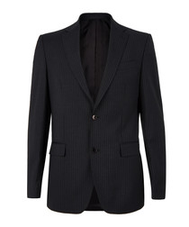 2pc grey pure wool striped suit
