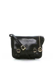 Black & gold-tone leather satchel bag