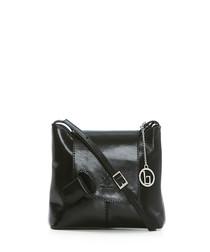 Black leather flap detail cross body