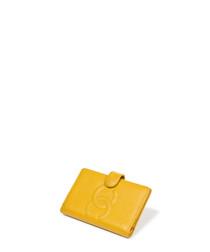 Agenda yellow caviar leather logo cover