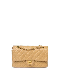 Classic Double Flap beige leather bag