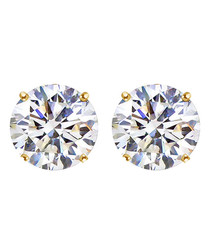 18k gold-plated crystal stud earrings
