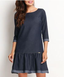 Blue 3/4 sleeve frill hem dress