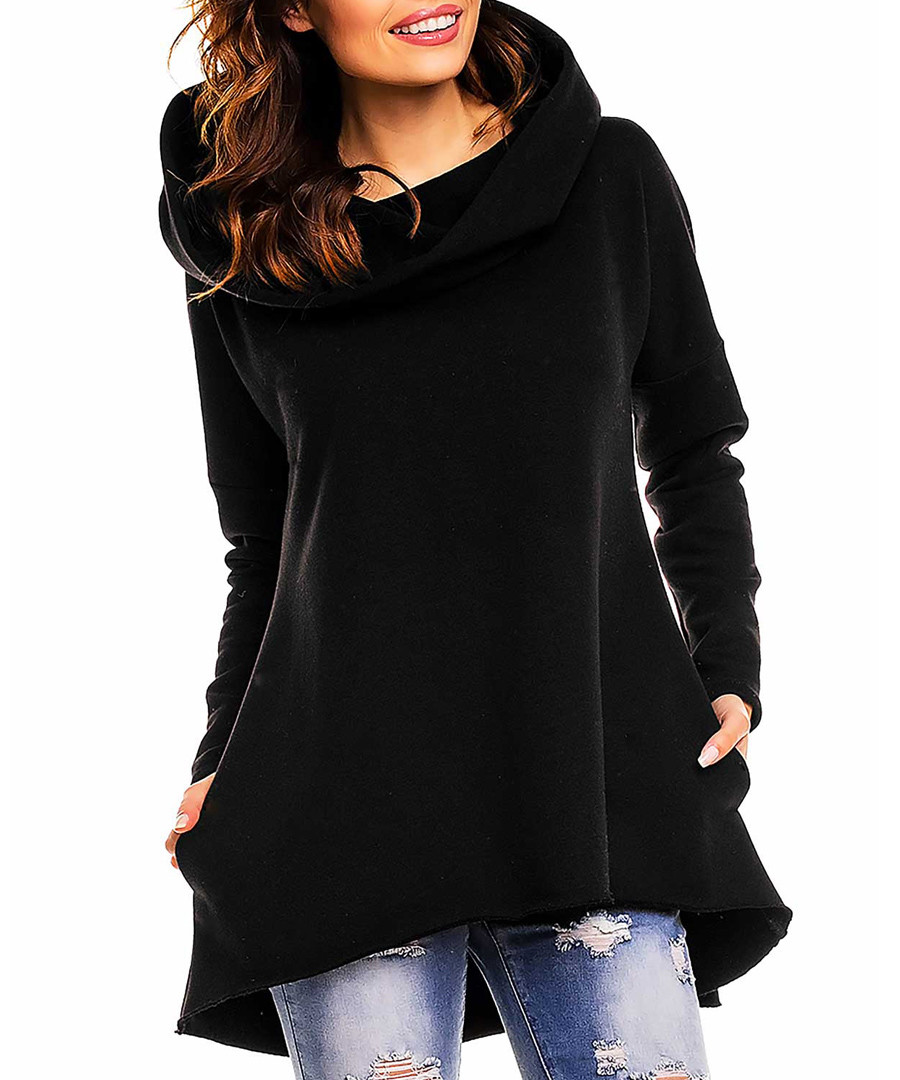 Black cotton blend hood sweatshirt Sale - awama