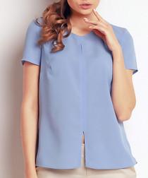Blue slit detail short sleeve blouse