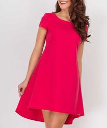 Raspberry short sleeve trapezium dress