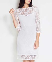 Ecru lace detail 3/4 sleeve midi dress