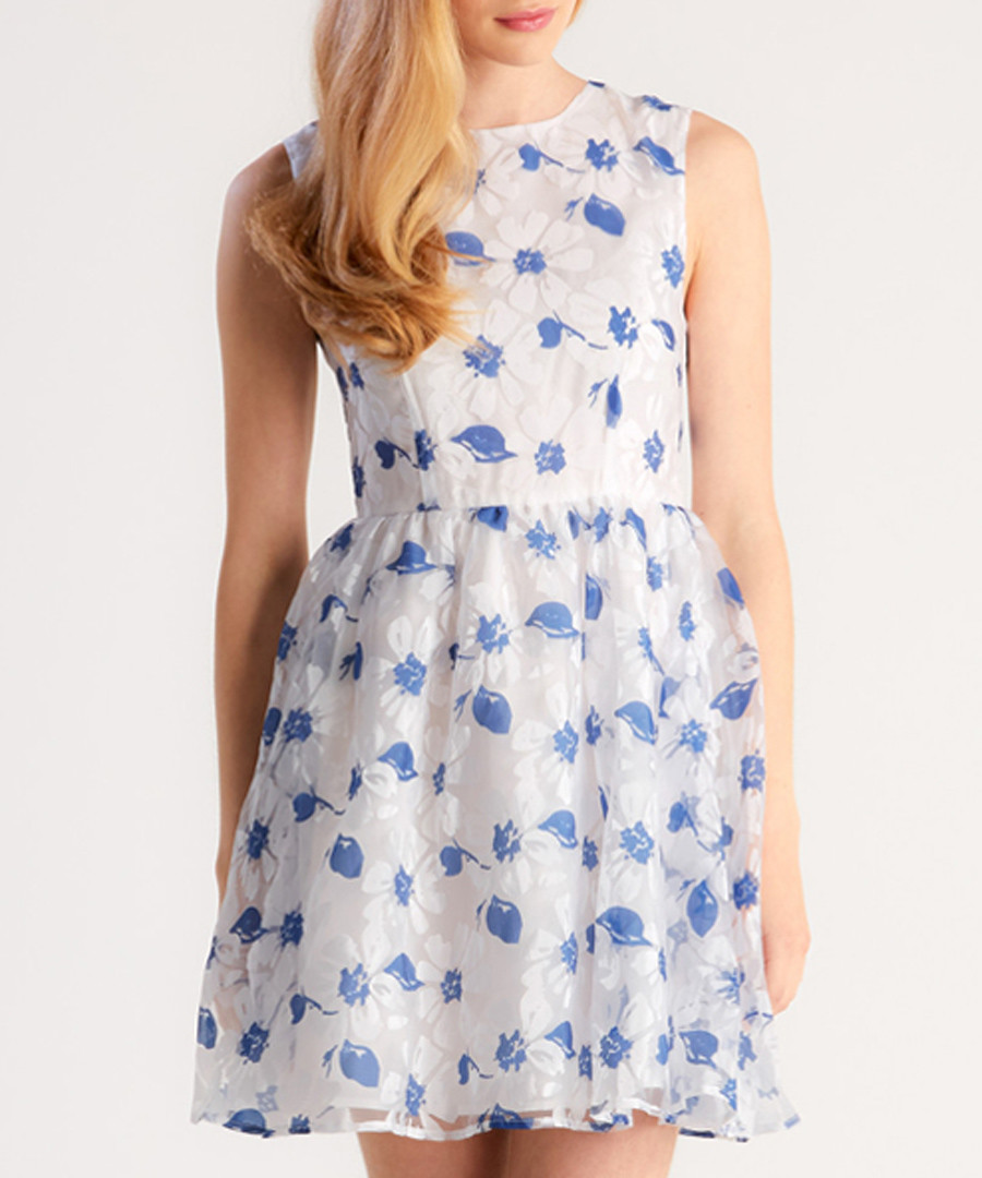 Blue floral printed organza detail dress Sale - zibi london