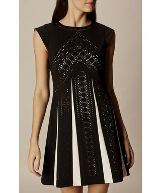 d18cd54116 Black & white contrast laser cut dress Sale - Karen Millen Sale