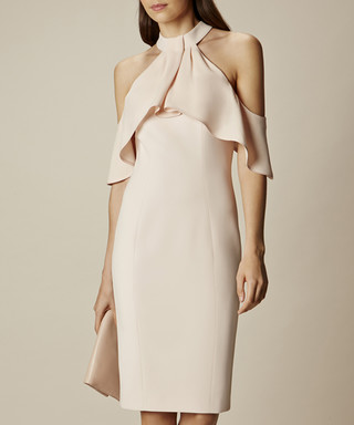 c3017f1a893963 Karen Millen. Nude draped cold-shoulder dress