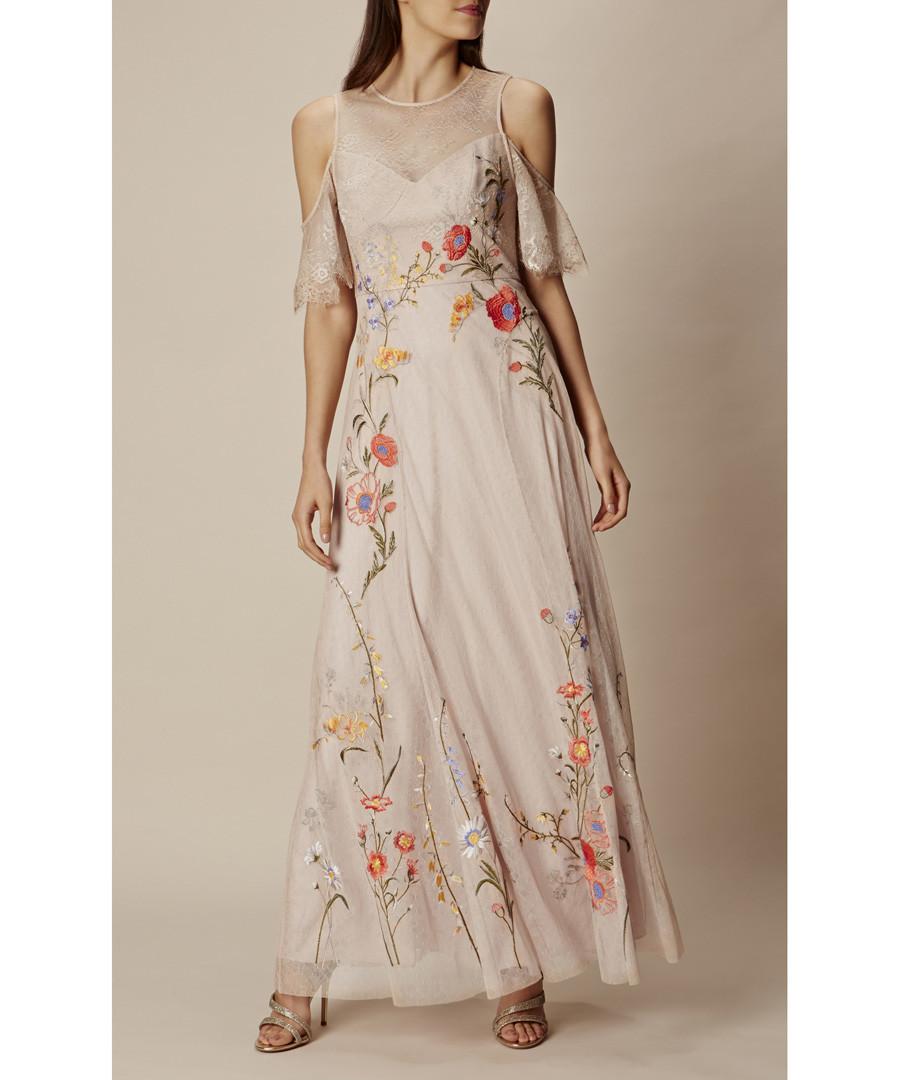 Neutral embroidered lace maxi dress Sale - karen millen