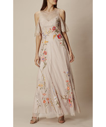 Neutral embroidered lace maxi dress