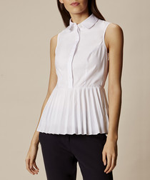 White cotton blend pleated hem shirt