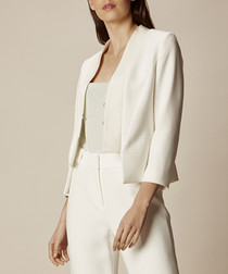 Ivory structured collarless blazer