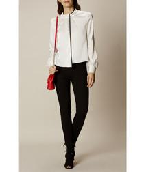 Black cotton blend high waist jeans