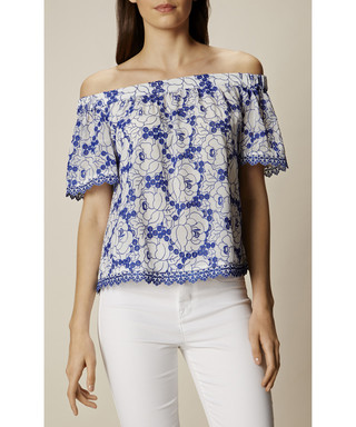 e21835090fd0ff Karen Millen. White   blue print off-the-shoulder top