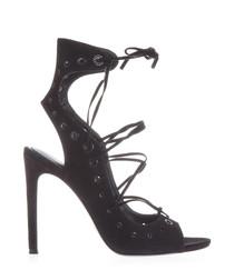 Deanna black suede heeled sandals