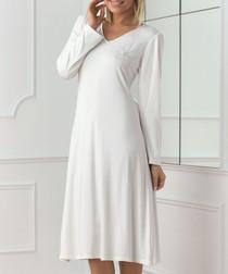 Ecru long sleeve V-neck night dress