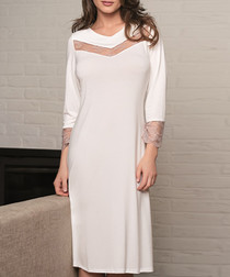 Cream lace half-sleeve night dress