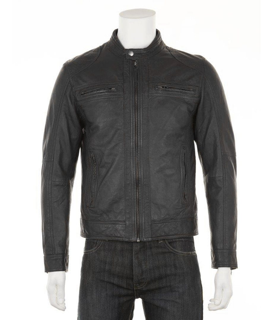 Men's Black leather perforated jacket Sale - woodland leather