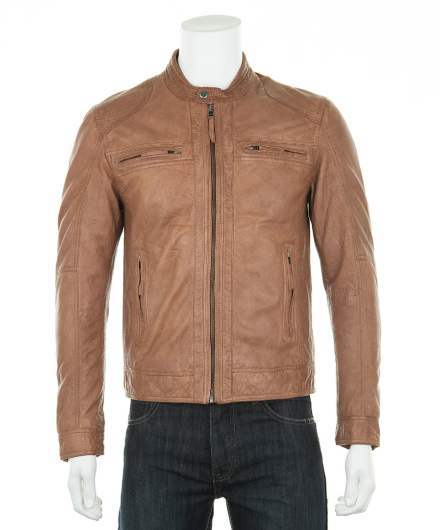 Men's Tan leather perforated jacket Sale - woodland leather