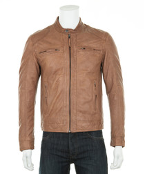 Men's Tan leather perforated jacket